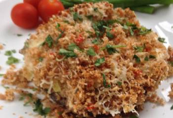 Creamy Leek Stuffed Mushrooms With Melted Mozzarella And Crispy Chilli Breadcrumbs