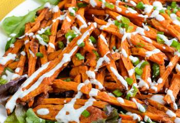 Syn Free Parmesan Sweet Potato Fries With Ranch Dressing