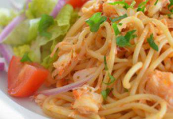 Crab With Red Pesto Spaghetti