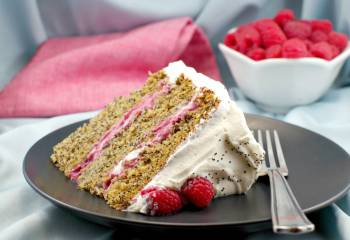 Lemon Poppy Seed Torte With Raspberry Curd Filling & White Chocolate Whipped Cream Frosting