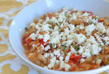 Chicken, Roasted Red Pepper And Sun-Dried Tomato Risotto Topped With Crumbled Feta