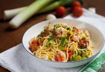Leek, Prawn And Chilli Spaghetti