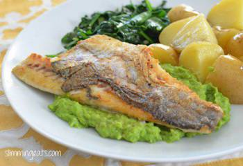 Pan-Fried Sea Bass With Creamy Mashed Peas