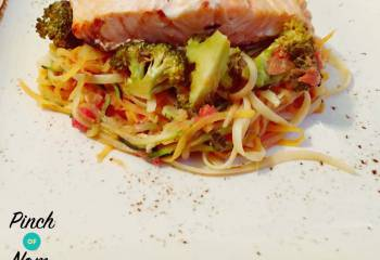 Sweet Chilli Salmon With Linguini, Courgette And Sweet Potato Spaghetti