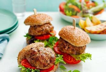 Pork And Apple Burgers With Potato Wedges