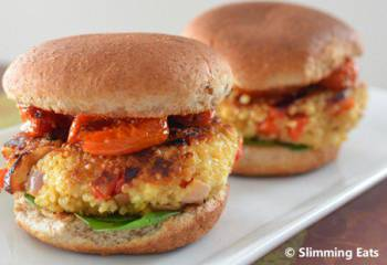 Roasted Red Pepper And Feta Quinoa Burgers