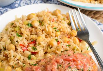 Salmon And Tomatoes With Rice Pilaf