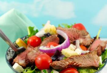 Grilled Steak Salad (Moxie's Copycat) With Goat Cheese And Clamato Dressing