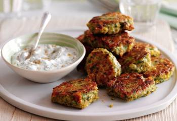 Slimming Worlds Chickpea And Chilli Cakes With Minted Yogurt Dip Recipe