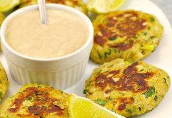Asian Pan Fried Salmon Patties With Creamy Ginger Lime Sauce