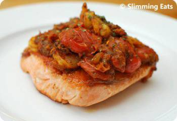 Salmon Topped With Spicy Prawns