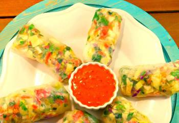 Tuscan Melon Summer Salad Rolls With Zesty Peanut Dipping Sauce Recipe