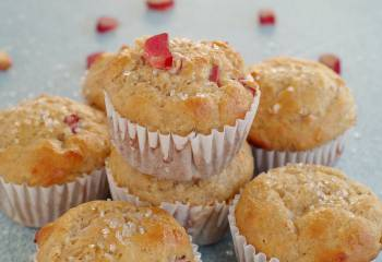 Healthy Rhubarb Muffins- Weight Watchers Friendly