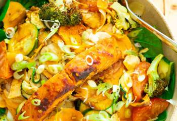 Easy Salmon Tray Bake &Amp; Veg Meal For One