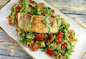 Syn Free Allspice Dusted Salmon, Tabbouleh Salad With A Basil, Lemon And Yogurt Dressing