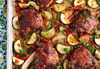 Peach Barbecue Chicken Tray Bake