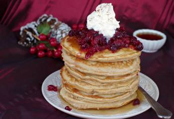 Gingerbread Pudding Pancakes (No Molasses) With Cranberry Compote