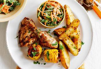 Cajun Chicken With Spicy Potato Wedges And Coleslaw